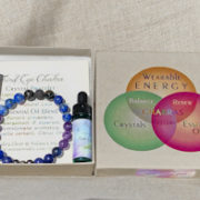 Third Eye Chakra Aromatherapy Crystal Bracelet and Essential Oil Gift Set