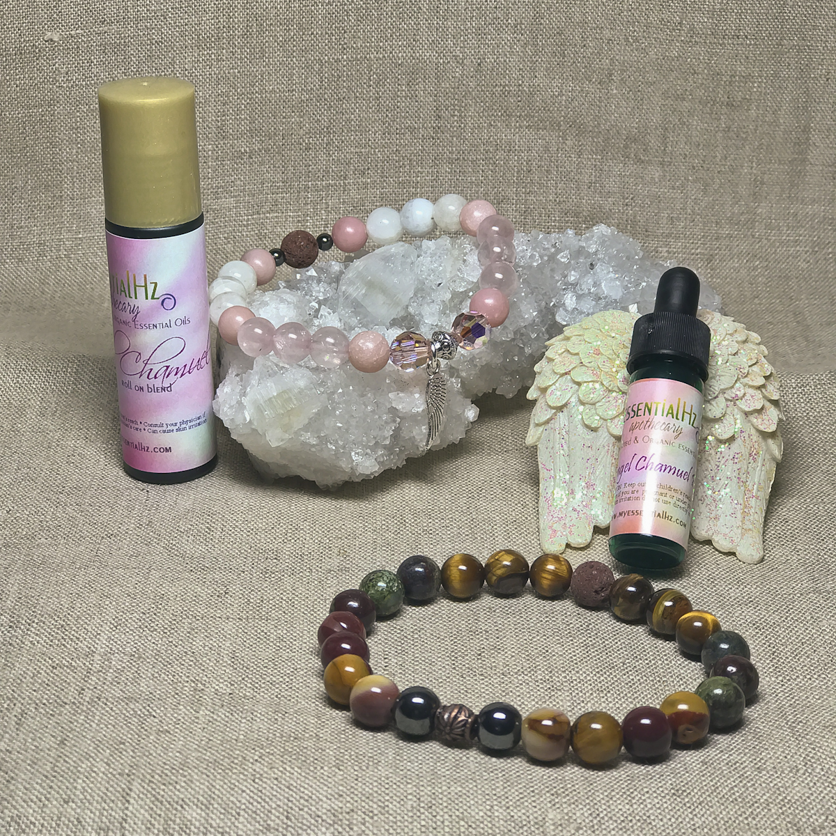 Archangel Chamuel Gemstone Crystal Aromatherapy Bracelet & Essential Oil Set