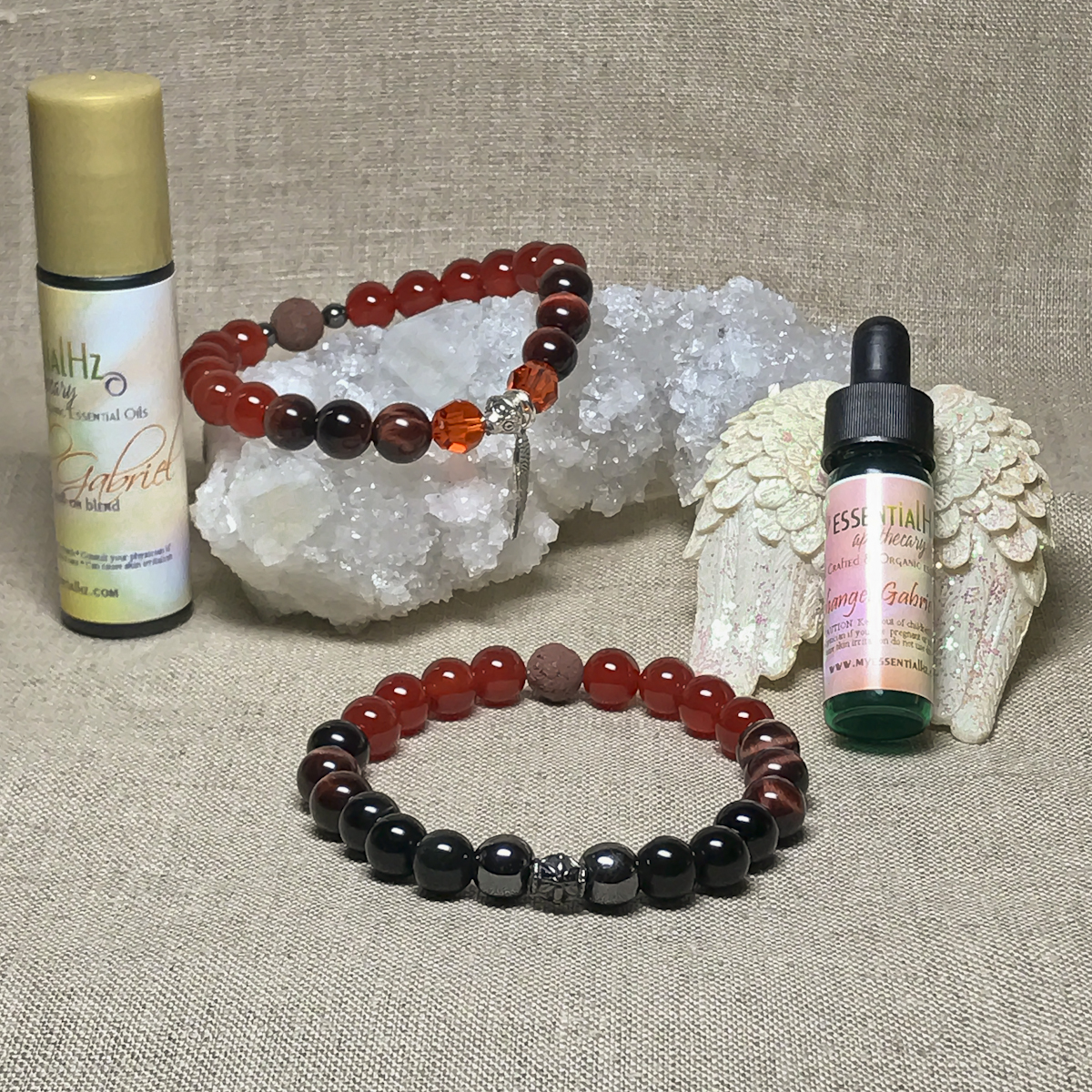 Archangel Gabriel Gemstone Crystal Aromatherapy Bracelet & Essential Oil Set