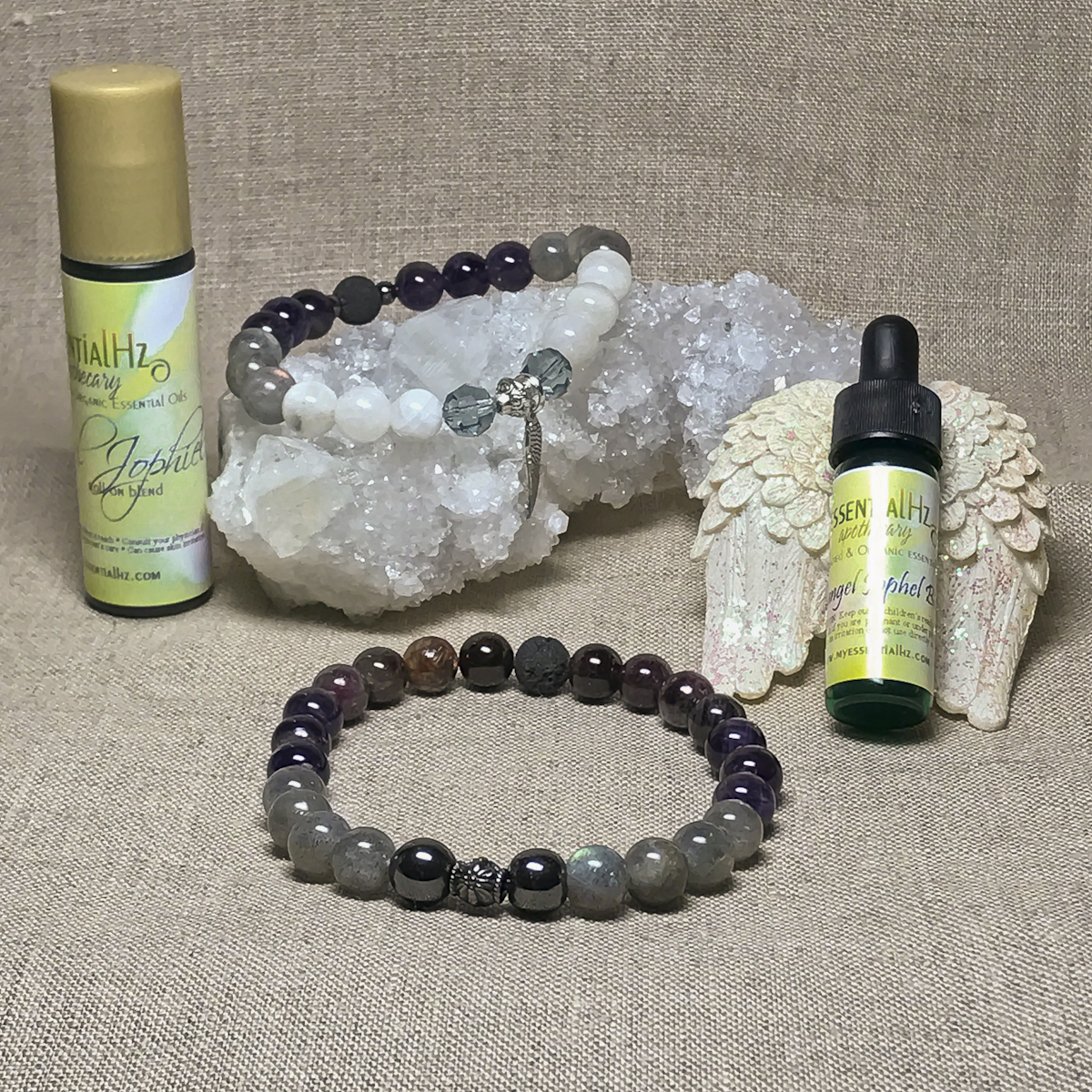Archangel Johpiel Gemstone Crystal Aromatherapy Bracelet & Essential Oil Set