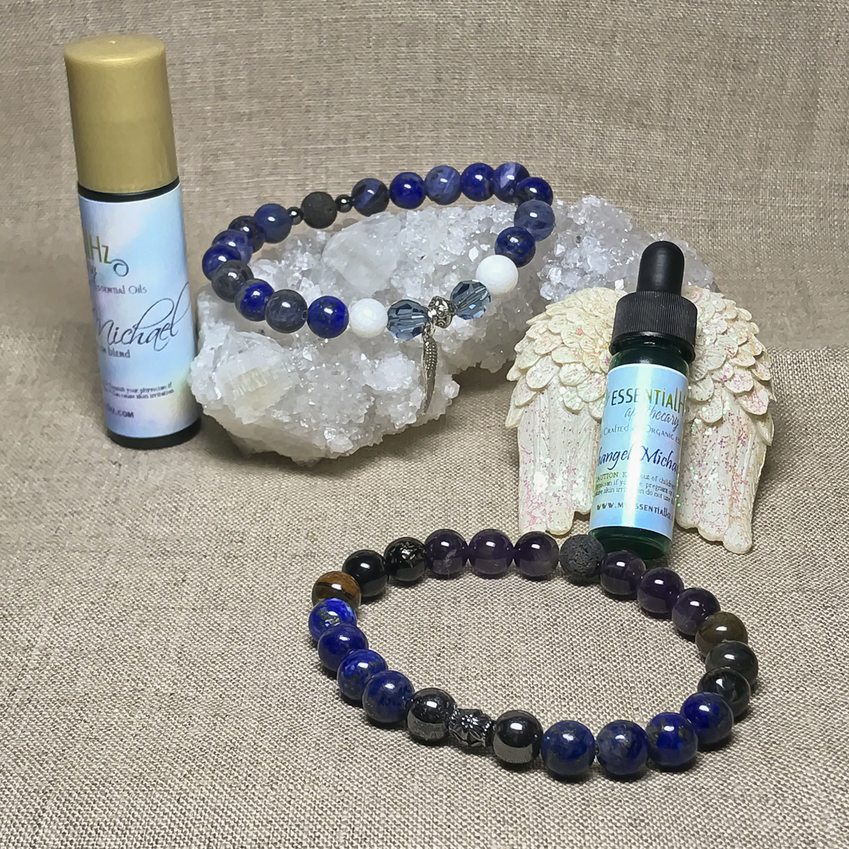 Archangel Michael Gemstone Crystal Aromatherapy Bracelet & Essential Oil Set