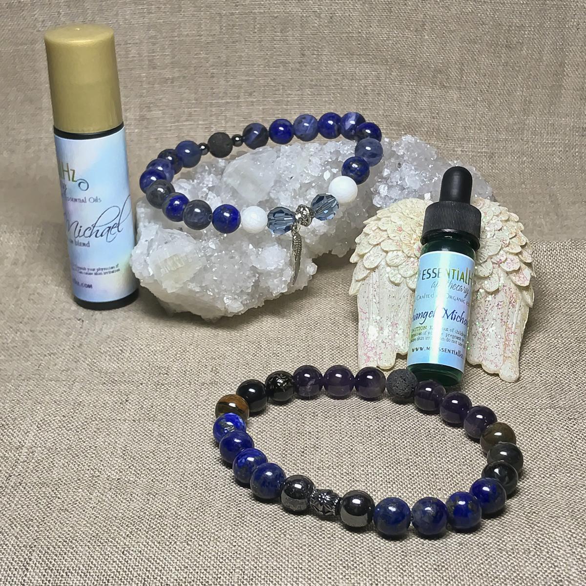 Archangel Michael Gemstone Crystal Aromatherapy Bracelet & Essential Oil Set