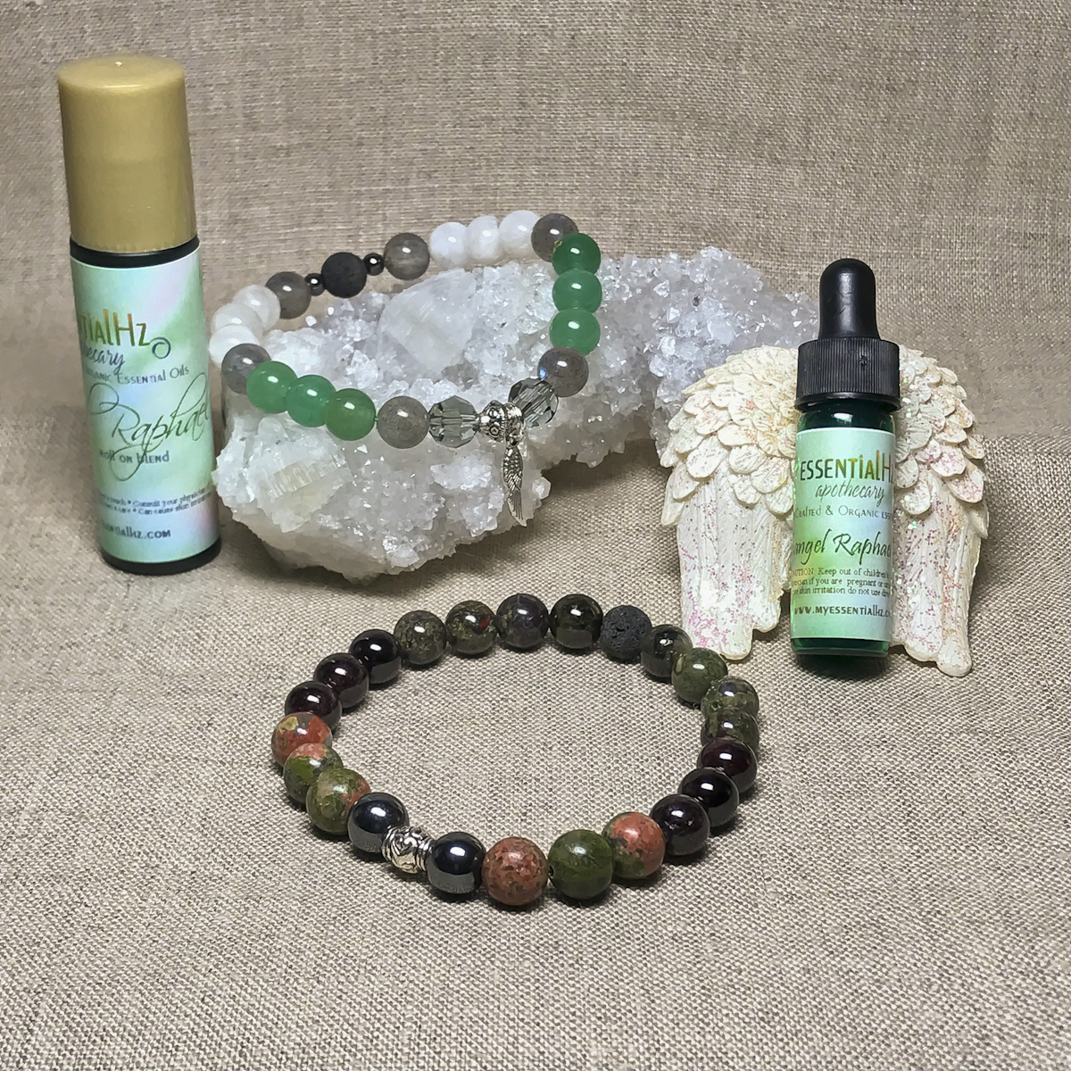 Archangel Raphael Gemstone Crystal Aromatherapy Bracelet & Essential Oil Set
