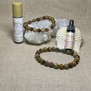Archangel Uriel Gemstone Crystal Aromatherapy Bracelet & Essential Oil Set