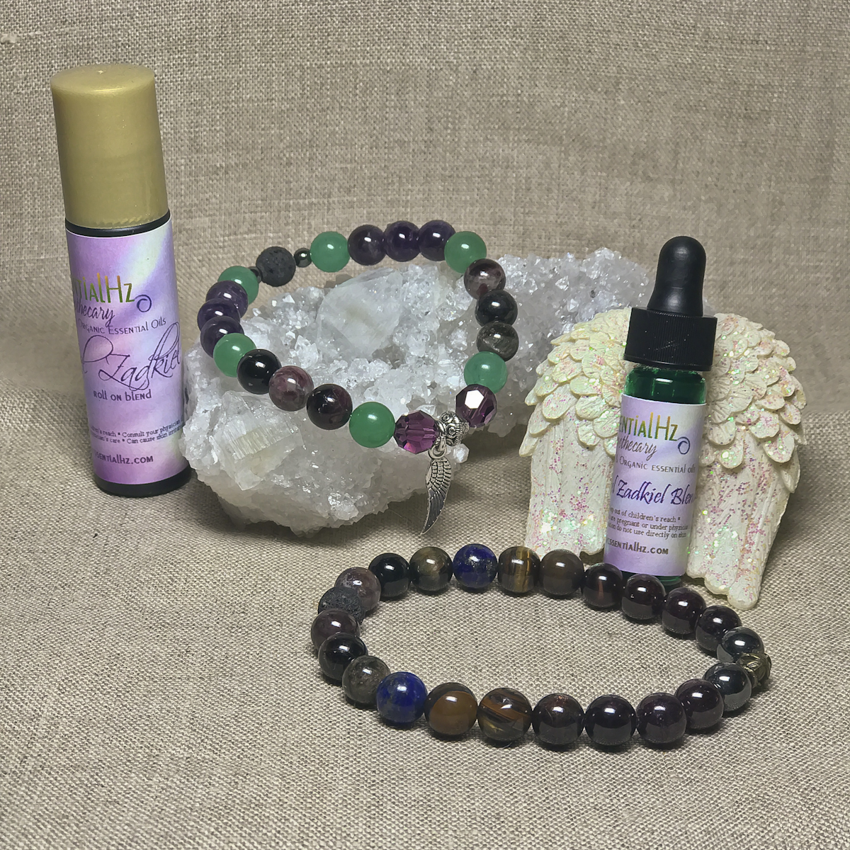 Archangel Zadkiel Gemstone Crystal Aromatherapy Bracelet & Essential Oil Set