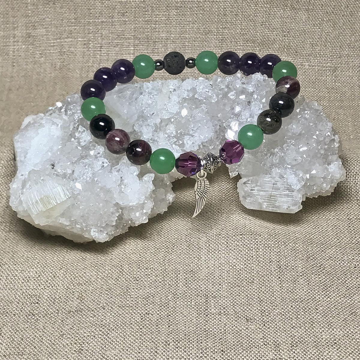 Archangel Zadkiel Gemstone Crystal Feminine Energy Aromatherapy Bracelet